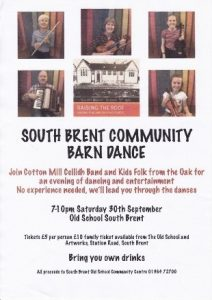 Event posters for South Brent Old School Community Centre