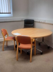 A picture of a meeting desk in the Old School Community Centre South Brent